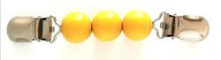 Neuleklipsu Puuhelmet keltainen