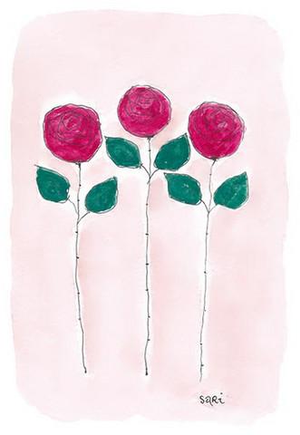 KORTTI, Punaiset ruusut 3 kpl, 2-osainen