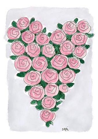 KORTTI, Sydän vaal.pun. ruusu, 2-osainen