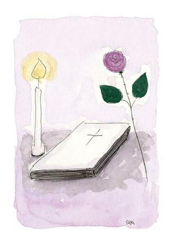 KORTTI, rippi, raamattu, kynttilä, ruusu lila, 2-osainen