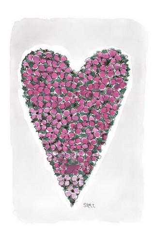 KORTTI, sydän pienet kukat fuksia, 2-osainen