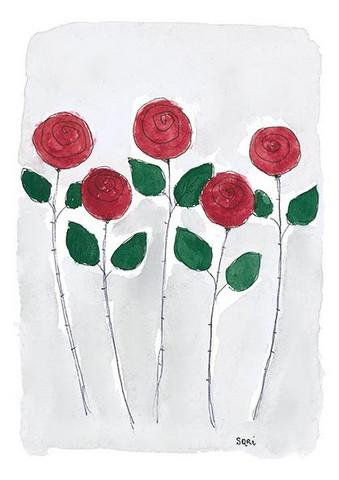 KORTTI, viisi punaista ruusua, 2-osainen