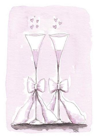 KORTTI, kaksi lasia ja rusetit, 2-osainen