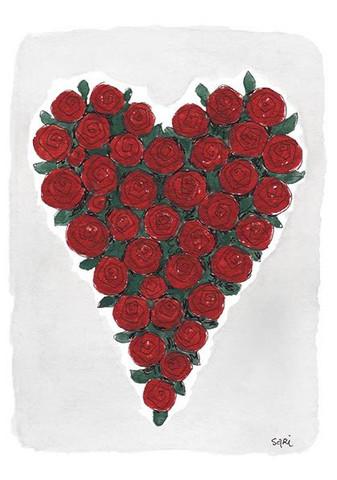 KORTTI, sydän punaiset ruusut, 2-osainen