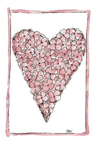 KORTTI, sydän vaal.pun hortensia, 2-osainen