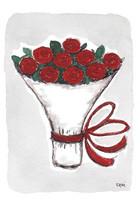 KORTTI, Kukkakimppu punaiset ruusut, 2-osainen