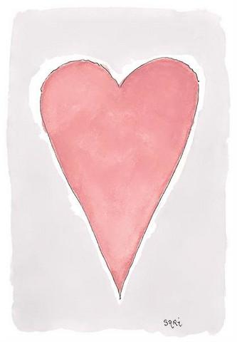 KORTTI, vaaleanpunainen sydän, 2-osainen