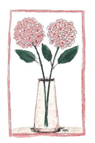 KORTTI, Kaksi hortensiaa vaal.pun, 2-osainen