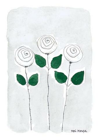 KORTTI, Onnittelut,  3 valk. ruusua, 2-osainen