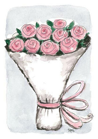 KORTTI, Ruusukimppu vaal.pun, 2-osainen