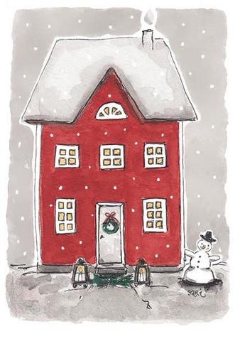 JOULUKORTTI, Punainen talo ja lumiukko, 2-osainen