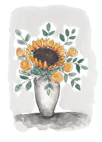 KORTTI, Auringonkukka ruukussa, 2-osainen