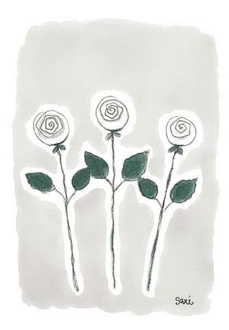 KORTTI, kolme ruusua harmaa, 2-osainen