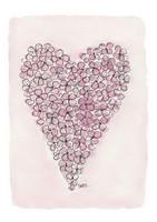KORTTI, hortensiasydän,  vaaleanpunainen, 2-osainen
