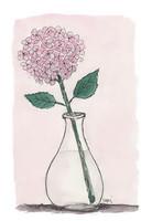 KORTTI, hortensia maljakossa, vaaleanpunainen, 2-osainen
