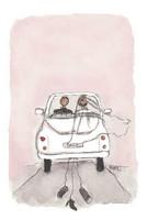 KORTTI, hääauto, vaaleanpunainen, 2-osainen