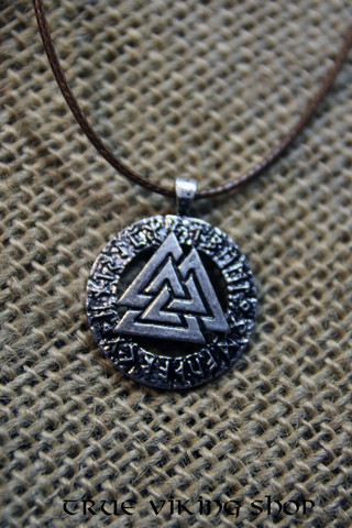 Valknut with runes, silver colour