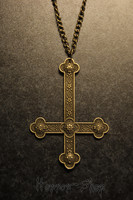 Inverted Cross, brass