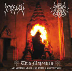 Impiety, Surrender Of Divinity ‎– Two Majesties - An Arrogant Alliance Of Satan's Extreme Elite (käytetty) 7