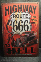 Highway to hell tin sign