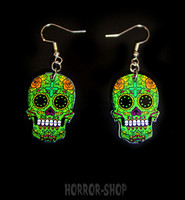 Sugarskull earrings, green