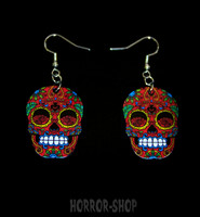 Sugarskull earrings, red