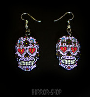 Sugarskull earrings, blueberry jughurt