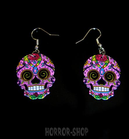 Sugarskull earrings, magenta