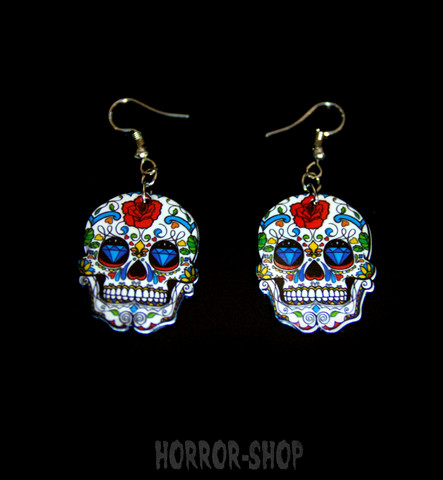 Sugarskull earrings, white with rose