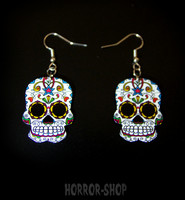 Sugarskull earrings, white with star