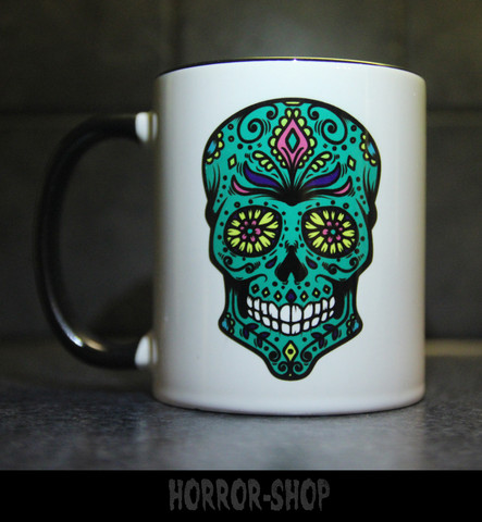 Sugarskull mug with green skull