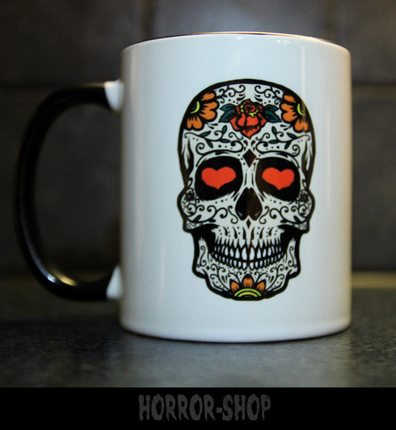 Sugarskull mug with white skull with rose