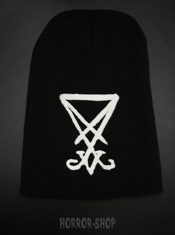 Sigil of Lucifer beanie, black with white embroydery