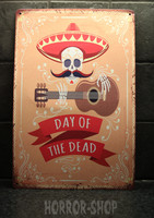 Day of the dead, sombrero skele tin sign
