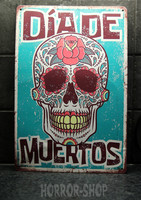 Day of the dead,  aquamarine sugarskull tin sign