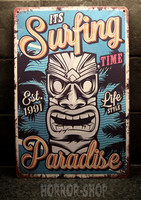 Surfing paradise tin sign