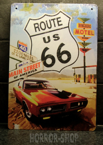 Motel - route 66, tin sign
