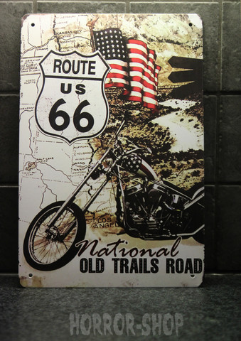 Old trail - route 66, tin sign