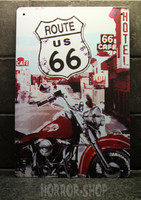 Red motorsycle - route 66 tin sign