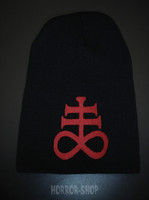 Leviathan cross beanie, black with red embroydery