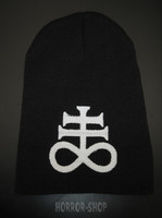 Leviathan cross beanie, black with white embroydery