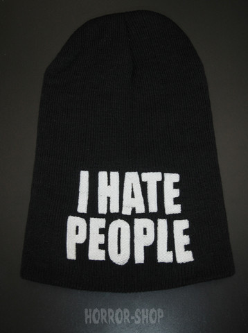 I hate people beanie, black with white embroydery