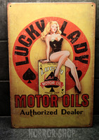 Lucky Lady Motor Oils, tin sign
