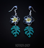 Tiki orchid earrings, black/pair