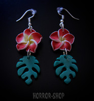 Tiki orchid earrings, red/pair