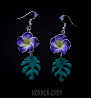 Tiki orchid earrings, lila/pair