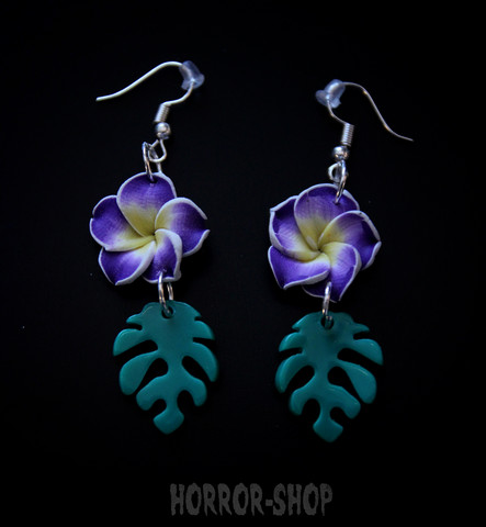 Tiki orchid earrings, lila/pair