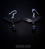 Gothic bat with black skull earrrings