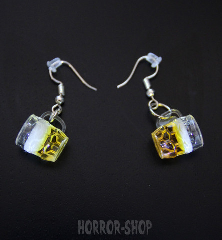 Beer mug earrings, pair
