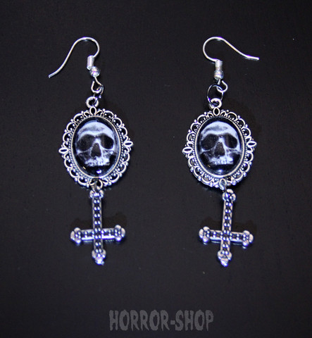 Oval came skull with Inverted cross earrings
